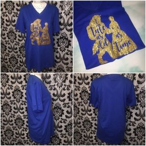 Beauty & The Beast Glitter Blue T-Shirt Size M